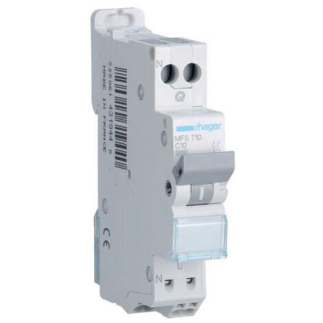 Disjoncteur 1P+N - 3kA C-10A - Connexion SanVis - 1 Module - Hager