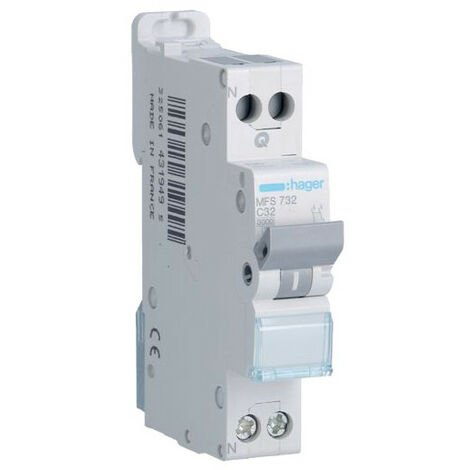 Disjoncteur 1P+N - 3kA C-32A - Connexion SanVis - 1 Module - Hager
