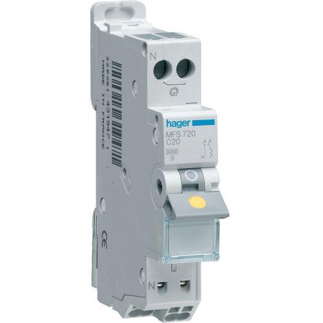 Disjoncteur 1p+n 3ka c-6a connexion sanvis 1 module