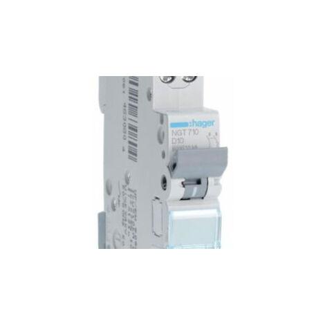 Disjoncteur 1P+N - 6-10kA - 10A - 1 module - Courbe D - NGT710 - Hager