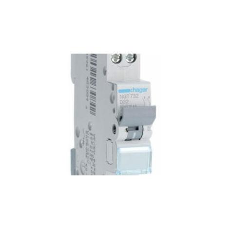 Disjoncteur 1P+N - 6-10kA - 32A - 1 module - Courbe D - NGT732 - Hager