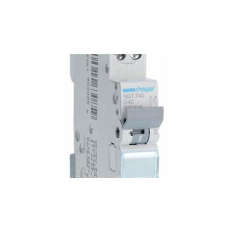 Disjoncteur 1P+N - 6-10kA - 40A - 1 module - Courbe D - NGT740 - Hager