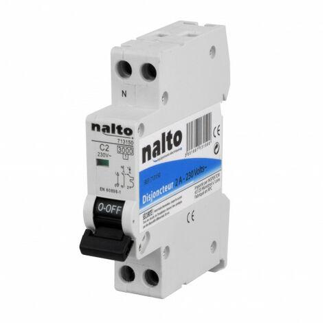 Disjoncteur 1P+N à vis 2A - 3kA type C NALTO