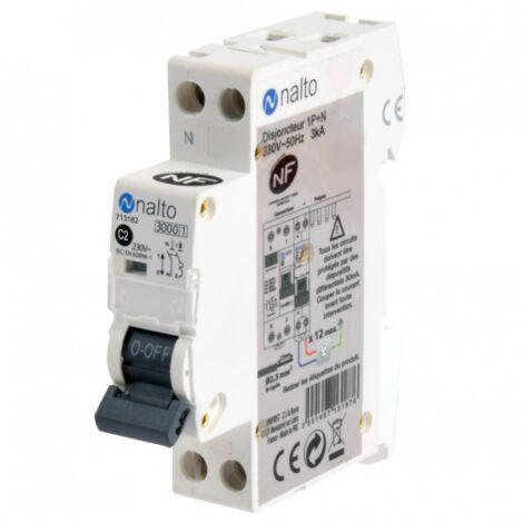 Disjoncteur 1P+N à vis 2A - 3kA type C NF NALTO