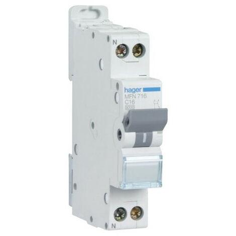 Disjoncteur 1P+N courbe C - Disjoncteur 1P+N 3kA C - 16A (MFN716)