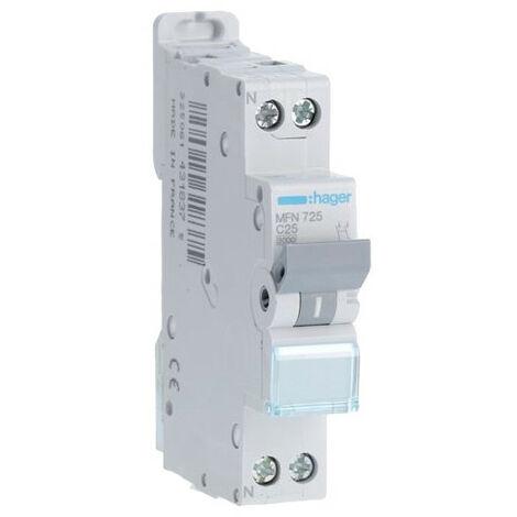 Disjoncteur 1P+N courbe C - Disjoncteur 1P+N 3kA C - 25A (MFN725)