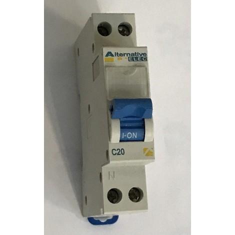 Disjoncteur 20A 1P+N courbe C 4.5KA bornes vis avec porte étiquette norme CE ALTERNATIVE ELEC AE12220