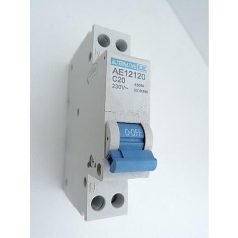Disjoncteur 20A 1P+N courbe C 4.5KA bornes vis norme CE ALTERNATIVE ELEC AE12120