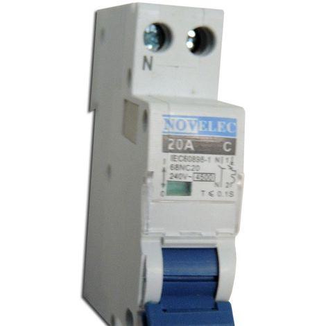 Disjoncteur 20A 1P+N courbe C 4.5kA connexion vis norme CE MCB NOVELEC 68NC20