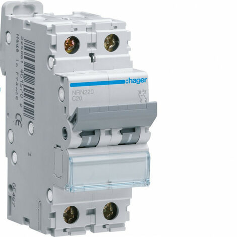 Disjoncteur 2P 25kA courbe C - 20A 2 modules (NRN220)