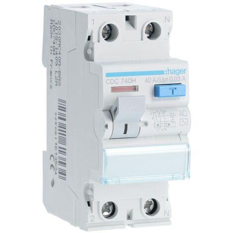 Disjoncteur 2P 40A 30MA AC 2 modules CDC740H