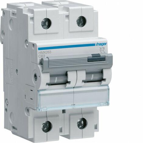 Disjoncteur 2P 50kA courbe C - 63A 3 modules (HMX263)