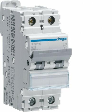 Disjoncteur 2P 6-10kA courbe D - 1A 2 modules (NGN201)