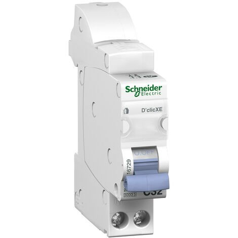 Disjoncteur 32A 1P+N Courbe C 3kA embrochable DCLIC XE SCHNEIDER 16729