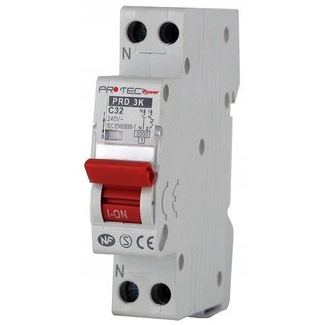 Disjoncteur 32A 1P+N courbe C 3kA norme NF raccordement vis (THOMSON) PROTEC PRD3KC32