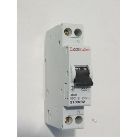 Disjoncteur 32A 1P+N courbe C 4.5kA norme CE connexion vis ELECTRIC LINE 2108X32