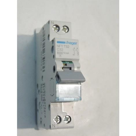 Disjoncteur 32A 1P+N courbe C 6-10kA 1 module C32 HAGER NFT732