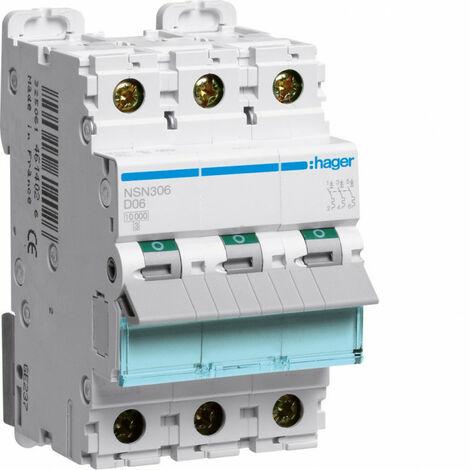 Disjoncteur 3P 25kA courbe D - 6A 3 modules (NSN306)