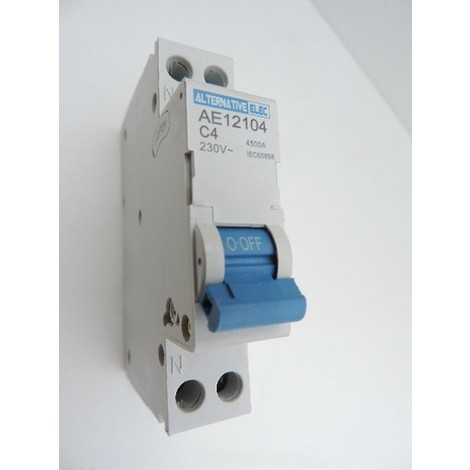 Disjoncteur 4A 1P+N courbe C 4.5KA bornes vis norme CE ALTERNATIVE ELEC AE12104