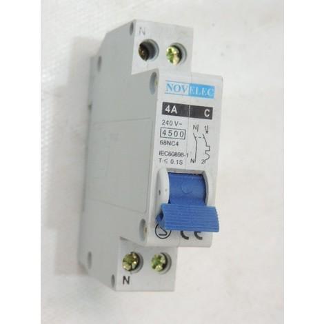 Disjoncteur 4A 1P+N courbe C 4.5kA connexion vis norme CE MCB NOVELEC 68NC04