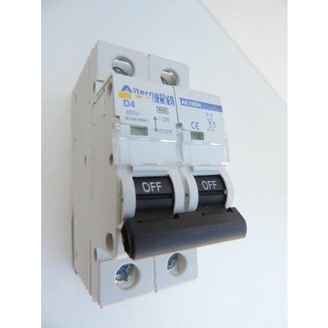 Disjoncteur 4A 2P courbe D 6kA bornes vis norme CE ALTERNATIVE ELEC AE14504