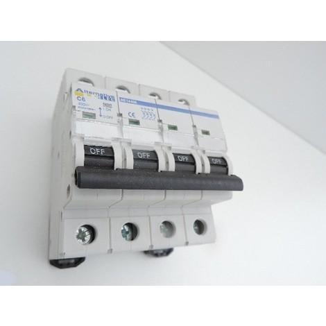 Disjoncteur 6A 4P courbe C 6kA bornes vis norme CE ALTERNATIVE ELEC AE14406