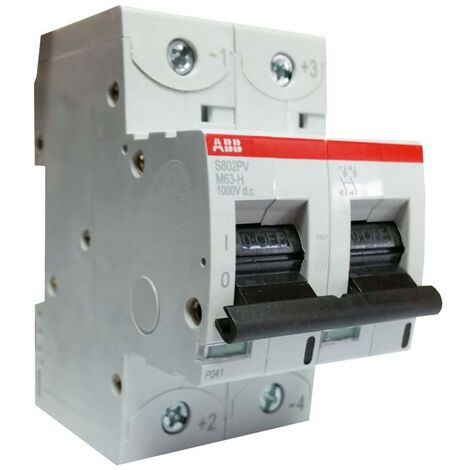 Disjoncteur Abb 63A 1000VDC 2 pôles S802PVM63H