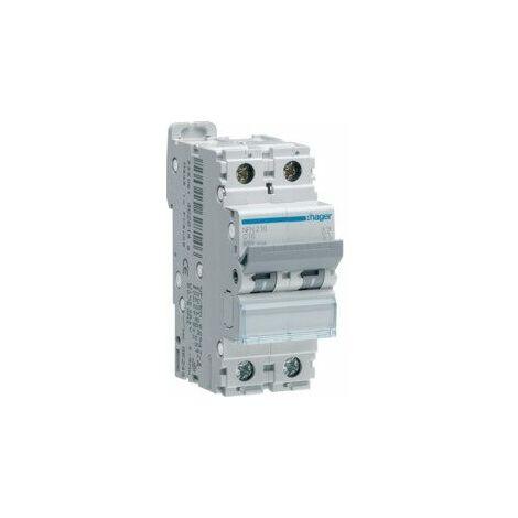 Disjoncteur bipolaire - 10A - courbe C - Vis/Vis - NFN210 - Hager