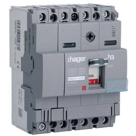 Disjoncteur boîtier moulé x160 4P 40kA 63A magnétique fixe HAGER HNA064M