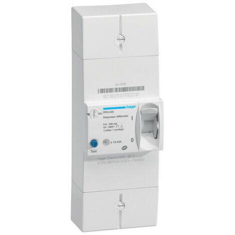 Disjoncteur de branchement différentiel 2P 15/45A 500mA instantané (HDA245)