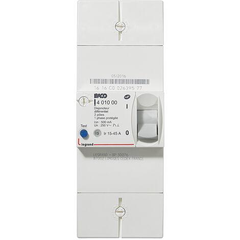 Disjoncteur de branchement edf 2p 15/45a 500ma