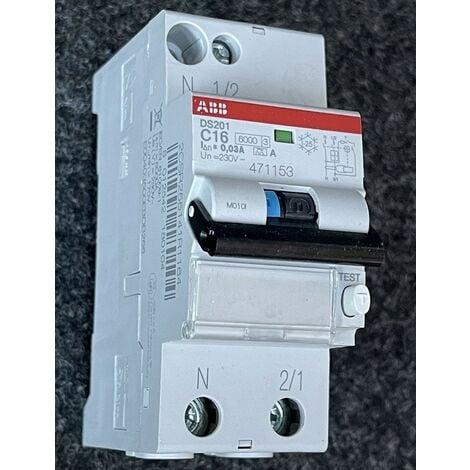 Disjoncteur differentiel 16A 1P+N courbe C 10KA protection 30mA type A bornes vis DS201 ABB 471153