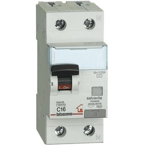 Disjoncteur différentiel courant, Bticino 1P+N 16A 30MA F 4.5 KA 2M GC8813F16