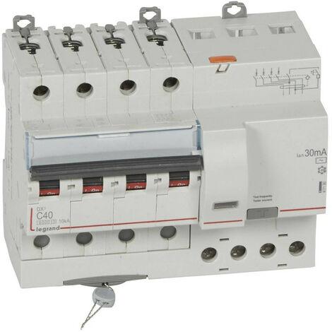 Disjoncteur differentiel DX³ 6000 vis 4 Pôles 400V 40A type AC 30mA 10kA courbe C 7 Modules LEGRAND 411190