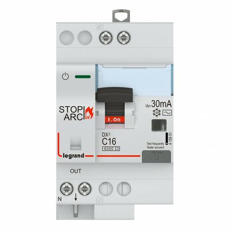 Disjoncteur différentiel DX STOP ARC 4500 arrivée et départ à vis 1P+N 230V~ 16A typeAC 30mA courbe C 3 modules (415951)