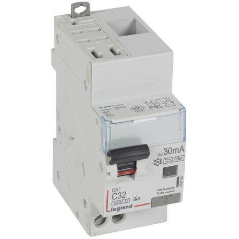 Disjoncteur différentiel DX4500 arrivée haute automatique et départ bas à vis U+N 230V~ 32A typeF 30mA 2 modules (410764)