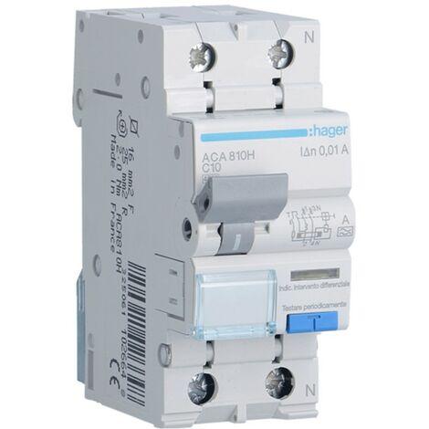 Disjoncteur différentiel Hager 1P+N 10MA 10A ACA810H