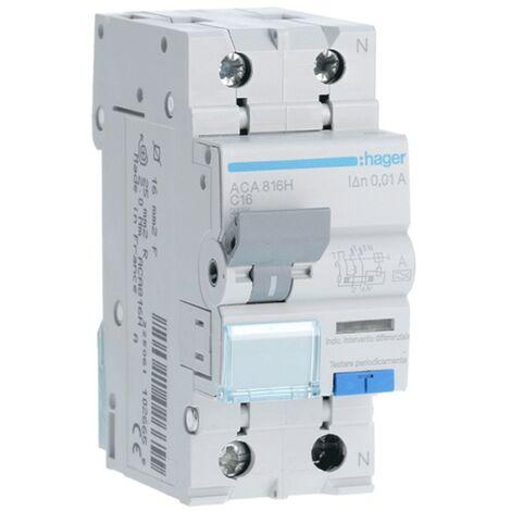 Disjoncteur différentiel Hager 1P+N 10MA 16A ACA816H