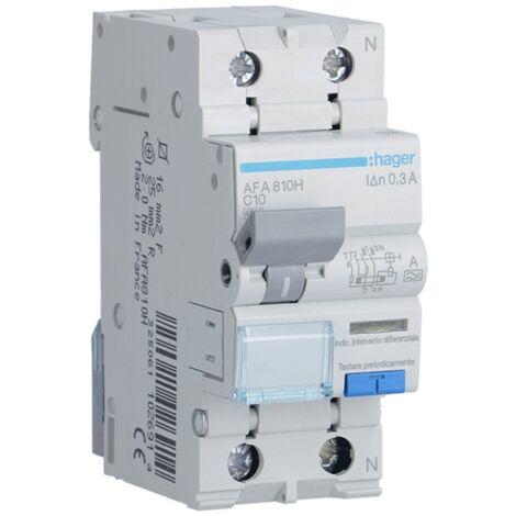 Disjoncteur différentiel Hager 1P+N 300MA 10A AFA810H