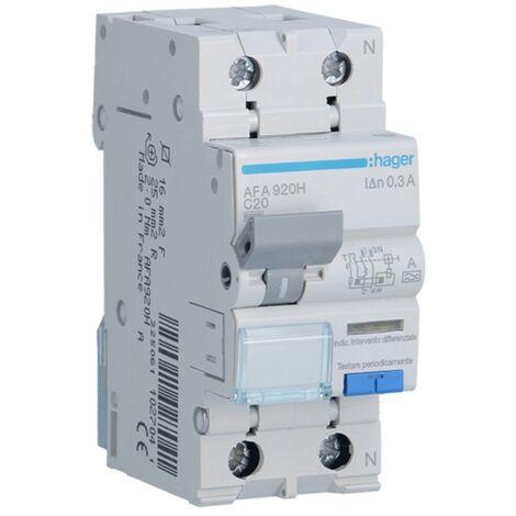 Disjoncteur différentiel Hager 1P+N 300MA 20A AFA920H