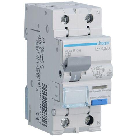 Disjoncteur différentiel Hager 1P+N 30MA 10A ADA810H