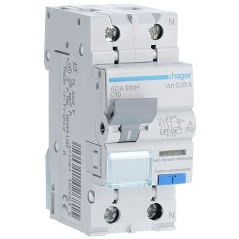 Disjoncteur différentiel Hager 1P+N 30MA 10A ADA910H