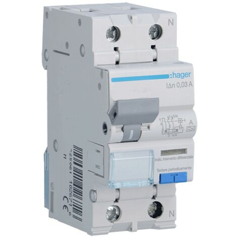 Disjoncteur différentiel Hager 1P+N 30MA 16A ADA816H
