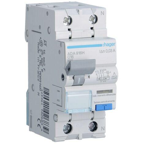 Disjoncteur différentiel Hager 1P+N 30MA 16A ADA916H