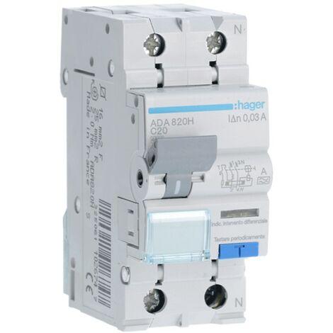 Disjoncteur différentiel Hager 1P+N 30MA 20A ADA820H