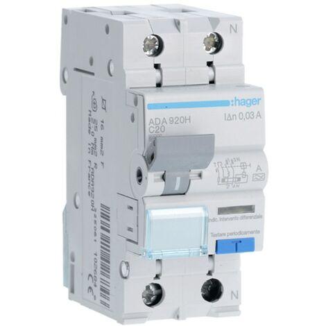 Disjoncteur différentiel Hager 1P+N 30MA 20A ADA920H