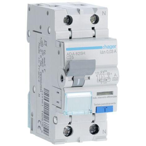 Disjoncteur différentiel Hager 1P+N 30MA 25A ADA825H