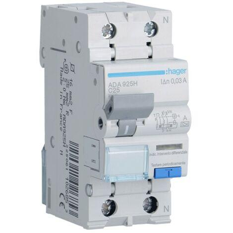 Disjoncteur différentiel Hager 1P+N 30MA 25A ADA925H