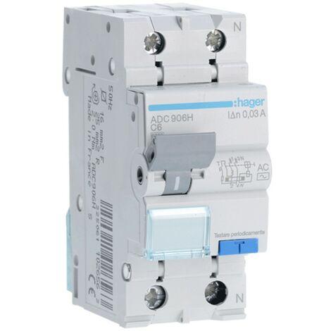 Disjoncteur différentiel Hager 1P+N 30MA 6A ADC906H