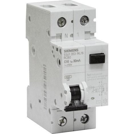 Disjoncteur différentiel monobloc 16 A 1P+N type CA 30 mA Diagramme C - SIEMENS